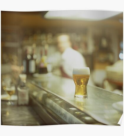 Glass of beer in Spanish tapas bar square Hasselblad medium format  c41 color film analogue photograph Poster