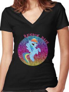 RainbowDashGlitter Women's Fitted V-Neck T-Shirt