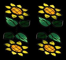 4 Flowers - Stained Glass -  by PB-SecretGarden