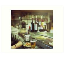 Man tapas and glass of beer in Spanish bar square Hasselblad medium format  c41 color film analogue photo Art Print