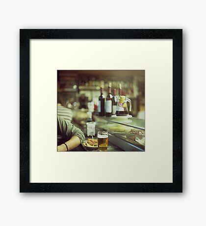 Man tapas and glass of beer in Spanish bar square Hasselblad medium format  c41 color film analogue photo Framed Print