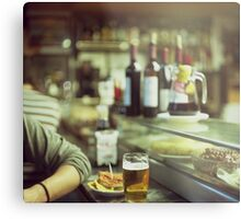 Man tapas and glass of beer in Spanish bar square Hasselblad medium format  c41 color film analogue photo Metal Print