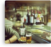 Man tapas and glass of beer in Spanish bar square Hasselblad medium format  c41 color film analogue photo Canvas Print