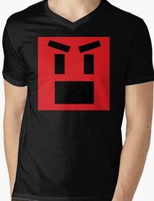 Mad Face Emoji Mens V-Neck T-Shirt
