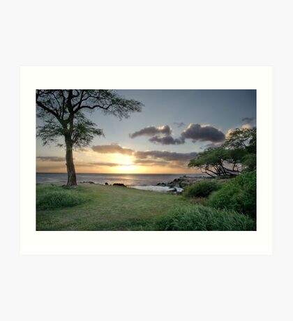 Sunset in Oahu Art Print