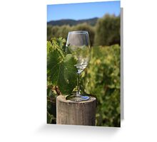 Wine glass on a log Greeting Card