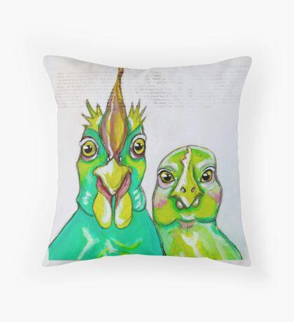 Mr & Mrs. Hensworth Chicken Throw Pillow