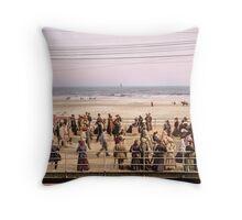Along the beach, Atlantic City, NJ 1905 Colorized Throw Pillow