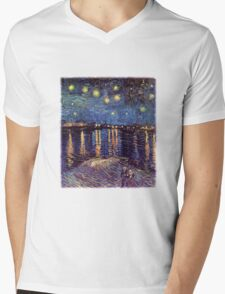 Starry Night over the Rhone, Vincent van Gogh. Mens V-Neck T-Shirt