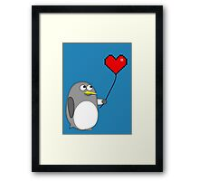 Penguin with a pixel heart balloon Framed Print
