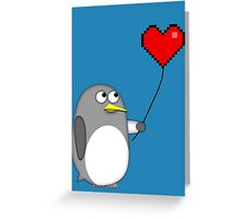 Penguin with a pixel heart balloon Greeting Card