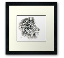 King - Lions profile g044 by schukina Framed Print