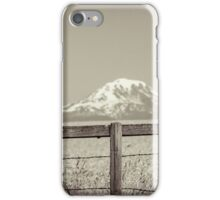 Mt Adams framed by fence posts iPhone Case/Skin