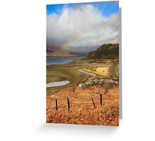 Rainbow over the valley Greeting Card