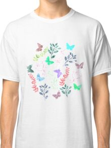 Watercolor Floral and Butterfly II Classic T-Shirt