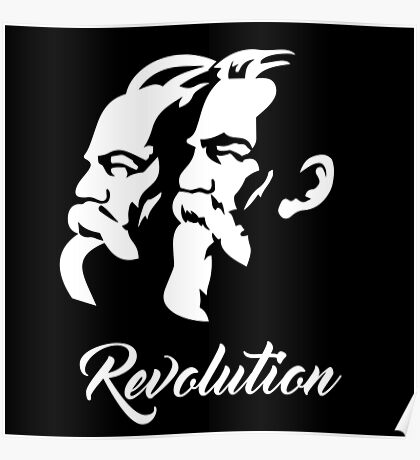 Marx and Engels Revolution Poster