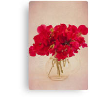 Red Sweet Pea Bouquet Canvas Print