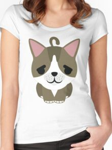 American Short Hair Cat Emoji Pretty Please Face Women's Fitted Scoop T-Shirt