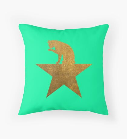 Gold Hamilcat Licking Super Cute Cats Design Throw Pillow