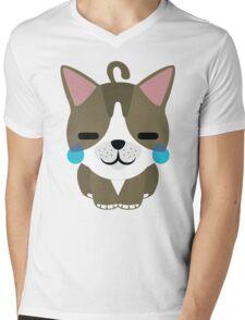 American Short Hair Cat Emoji Teary Eyes with Joy Face Mens V-Neck T-Shirt