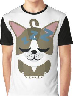 American Short Hair Cat Emoji Sleepy and ZZZ Face Graphic T-Shirt