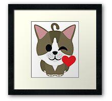 American Short Hair Cat Emoji Flirt and Blow Kiss Face Framed Print