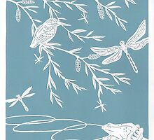 Blue Willow Paper Cutting by Hazel Partridge