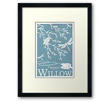 Blue Willow Paper Cutting Framed Print