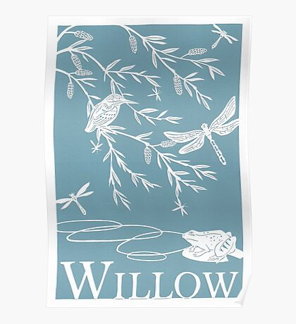 Blue Willow Paper Cutting Poster
