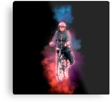 Digitally enhanced image Of a woman riding a bicycle  Metal Print
