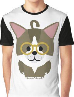 American Short Hair Cat Emoji Nerdy Noob Spectacles Look Graphic T-Shirt