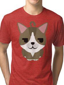 American Short Hair Cat Emoji Shy and Secretly Happy Face Tri-blend T-Shirt