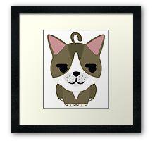 American Short Hair Cat Emoji Shy and Secretly Happy Face Framed Print