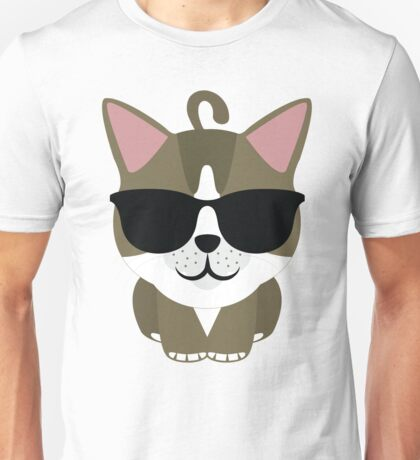 American Short Hair Cat Emoji Cool Hip Sunglasses Look Unisex T-Shirt