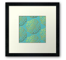 Dahlia on Aquamarine and gold pattern Framed Print