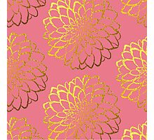 Dahlia on coral and gold pattern design Photographic Print