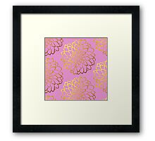 Dahlia on gerbera and gold pattern design  Framed Print
