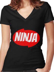 Ninja Clean Katana Cut T-Shirt Women's Fitted V-Neck T-Shirt