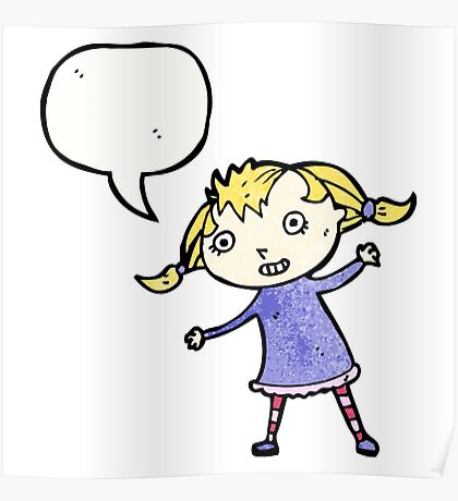 cartoon little blond girl Poster