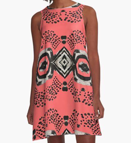 Inky Eyes - Watermelon A-Line Dress