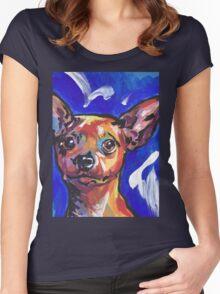 Miniature Pinscher Dog Bright colorful pop dog art Women's Fitted Scoop T-Shirt