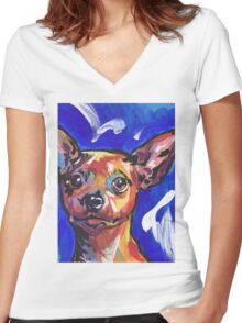 Miniature Pinscher Dog Bright colorful pop dog art Women's Fitted V-Neck T-Shirt