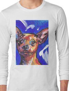 Miniature Pinscher Dog Bright colorful pop dog art Long Sleeve T-Shirt
