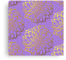 Dahlia on violet and gold pattern design Canvas Print