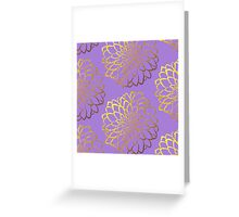 Dahlia on violet and gold pattern design Greeting Card