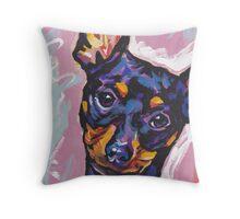 Miniature Pinscher Dog Bright colorful pop dog art Throw Pillow