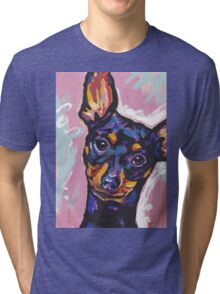Miniature Pinscher Dog Bright colorful pop dog art Tri-blend T-Shirt