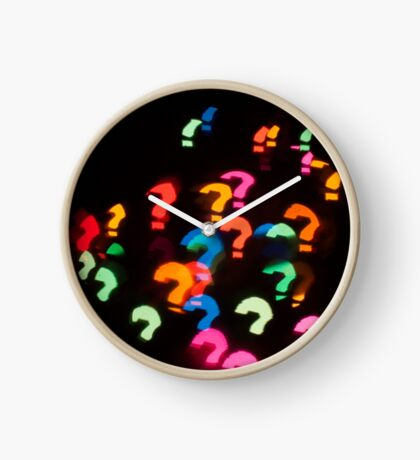 Abstract Bokeh shapes Question marks Clock