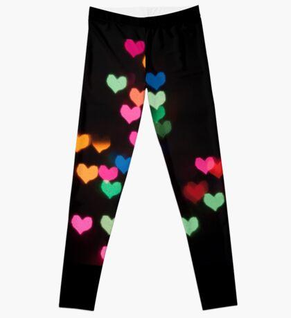 Abstract Bokeh shapes love hearts Leggings