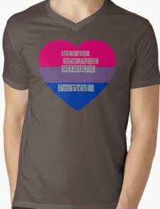 Let's get one thing straight, I'm not - bisexual heart flag Mens V-Neck T-Shirt